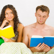 Couple leisure at the bedroom — Stock Photo