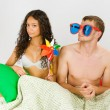 Stock Photo: Couple having fun at bed