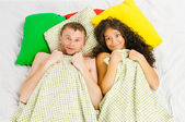 Couple trapped at the bedroom — Stock Photo