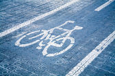 Blue bike lane — Stock Photo