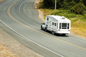 Recreational vehicles on the highway — Stock Photo