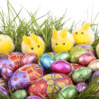 Easter eggs bunnies on grass over white — Stock Photo