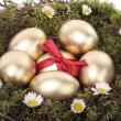 huevos de Pascua oro en nido de pájaro — Foto de Stock