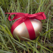 Gold easter egg on grass - Stock Photo