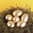 Golden eggs in bird nest over yellow - Stock Photo