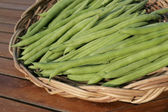 French beans on basket — Stock Photo