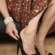 Stock Photo: Woman legs with black dress and shoes