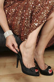 Woman legs with black dress and shoes — Stok fotoğraf
