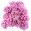 Bouquet of pink roses over white — Foto Stock