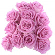 Stock Photo: Bouquet of pink roses over white