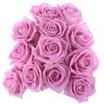 Букет из розовых роз над белой — Стоковое фото