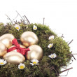 Stock Photo: Gold easter eggs in bird nest isolated