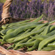 Runner beans on garden table — Stock Photo