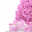 Bouquet of pink roses over white background — Stock Photo #3340633