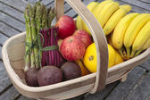 Fruit and vegetables in basket — Stock Photo