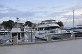 Boats in marina at dusk — Stock Photo