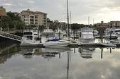 Barcos ao entardecer — Fotografia Stock