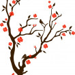 Oriental cherry with birds — Vector de stock