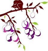 Bird on a plum branch — Stock Vector