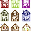 Stock Vector: Set of colour small houses