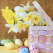 Easter Bouquet and Easter Eggs — Stock Photo