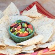 Black Bean Salad with Corn Chips — Stock Photo