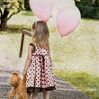 Child with Teddy Bear and Balloons — Stock fotografie
