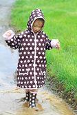 Child Playing in Rain — Stock Photo