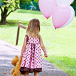 Stock Photo: Child With Balloons and Teddy Bear