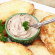 Pate and toast with a sprig of parsley. Shallow DOF. — Stock Photo #3249266