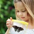 Child Capturing Butterflies — Stock Photo