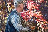 Turkey hunter with box call — Stock Photo
