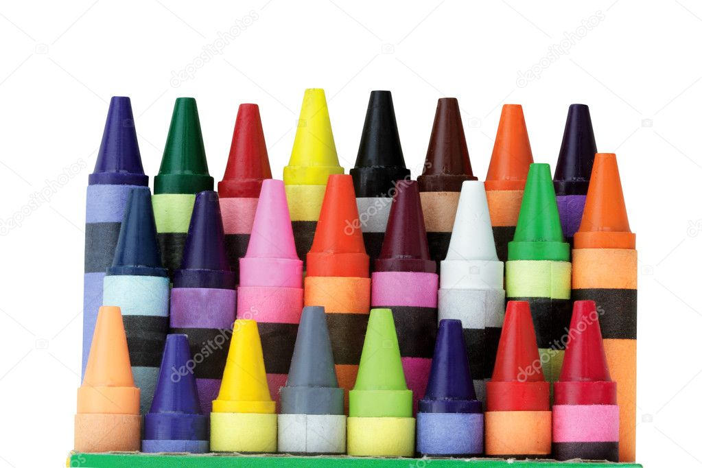 Three rows of wax crayons in a box with clipping path included. Shallow DOF. — Stock Photo #3598619