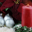 Christmas Candle and Poinsettias — Stock Photo #3609996