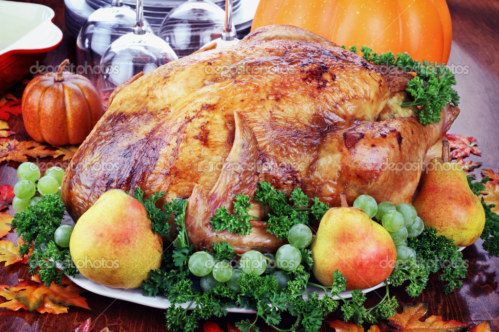 Thanksgiving turkey with fresh pears and grapes.  Stock Photo #3758739