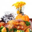 Festive Thanksgiving Dinner - Stock Photo