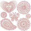 Henna Mehndi Paisley Doodle Vector Design Elements - Stock Vector
