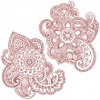 Henna Mehndi Pasiley Mandala Flower Doodles Vector - Stock Vector