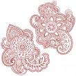 Henna Mehndi Pasiley Mandala Flower Doodles Vector — Stock Vector #2764710