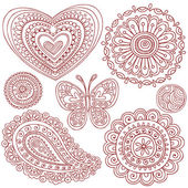 Henna Mehndi Paisley Doodle Vector Design Elements — Stock Vector