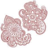 Flor de henna mehndi pasiley mandala doodles vector — Vector de stock
