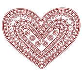 Henna Mehndi Pasiley Heart Doodle Vector — Stock Vector