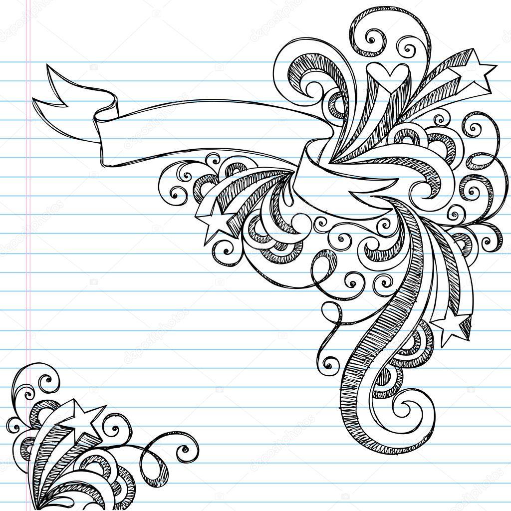 校涂鸦笔记本涂鸦矢量图
