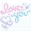 Sketchy Love You Lettering Notebook Doodles Vector - Stock Vector
