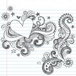 Sketchy Love Heart Notebook Doodles — Stock Vector