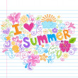 I Love Summer Sketchy Doodle Vector — Stock Vector