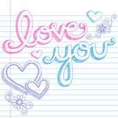 Sketchy Love You Lettering Notebook Doodles Vector — Stock Vector