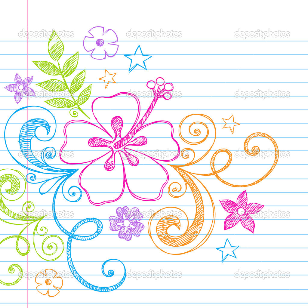 Hand-Drawn Tropical Hibiscus Flower and Swirls Summer Beach Sketchy Notebook Doodles Vector Illustration on Lined Sketchbook Paper Background — Stock Vector #2772249