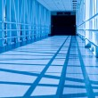 Stock Photo: Covered Skywalk Tunnel in Cold Bluetone
