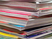 Magazines Unevenly Stacked Edge Focus — Stock Photo